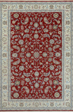 Indo Nain 4x6 Red Wool w/ Viscose Area Rug