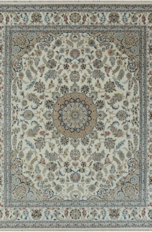 Indo Nain 3x5 Ivory Wool w/ Viscose Area Rug