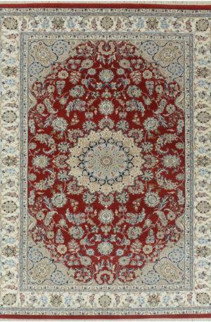 Indo Nain 2x3 Red Wool w/ Viscose Area Rug