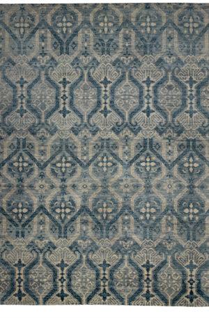 Transitional 9X12 Grey Blue Wool Area Rug