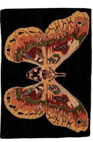 Butterfly 2X3 Black Wool Area Rug