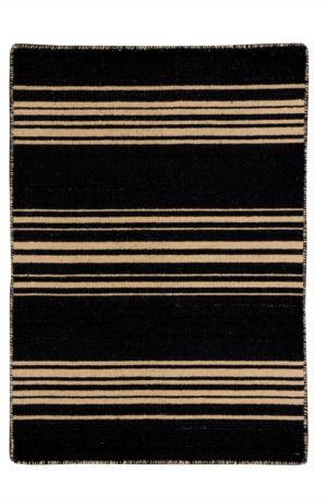 Flatweave 2X3 Black Wool Area Rug