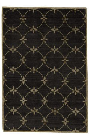 Nepal Contemporary 4X6 Black Wool Area Rug