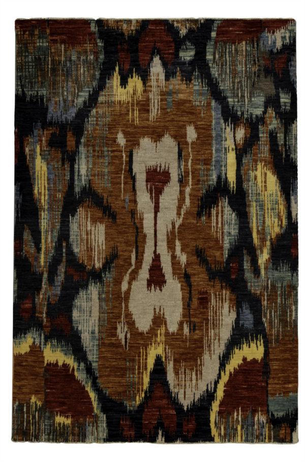 Contemporary 4X6 Black Wool Area Rug