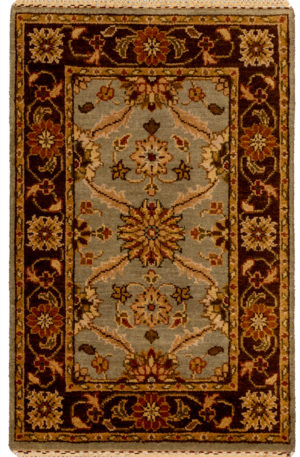 Traditional 2X3 Blue Wool Area Rug