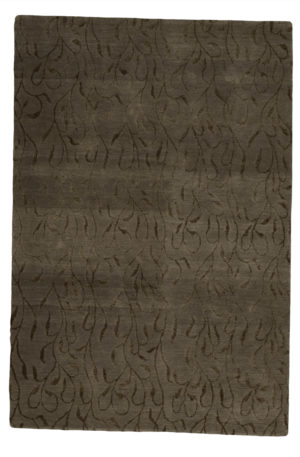 Contemporary Nepal 4X6 Gray Wool Area Rug