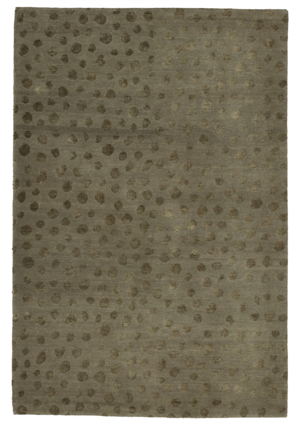 Contemporary Nepal 4X6 Green Wool Area Rug