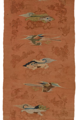 Antique Mongolian 3X5 Wool Area Rug