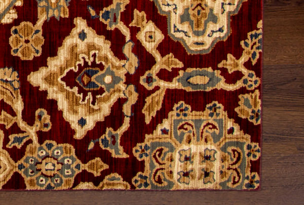 Transitional 5X8 Red Synthetic Area Rug