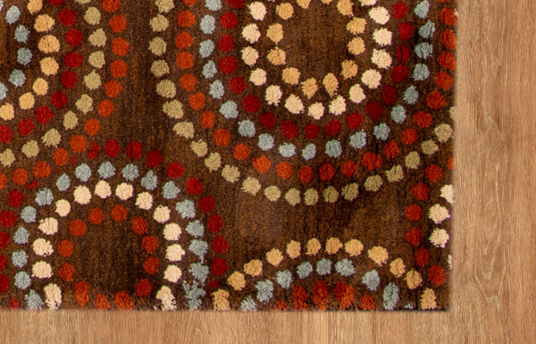 Contemporary 5X8 Brown Synthetic Area Rug