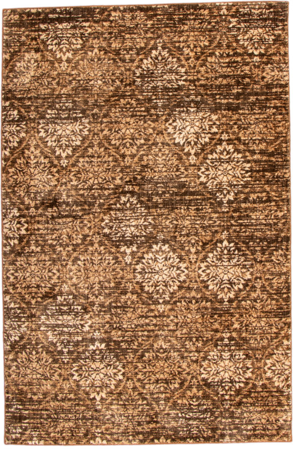 Transitional 5X8 Brown Synthetic Area Rug