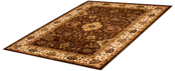 Traditional 5X8 Brown Ivory Synthetic Area Rug