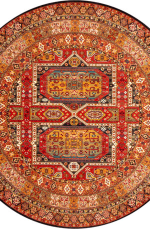 Tribal 8' Round Multi Color Wool Area Rug