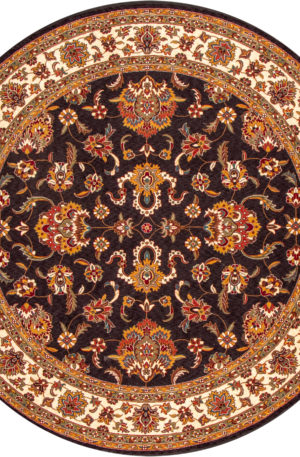Floral 8' Round Black and Ivory Wool Area Rug