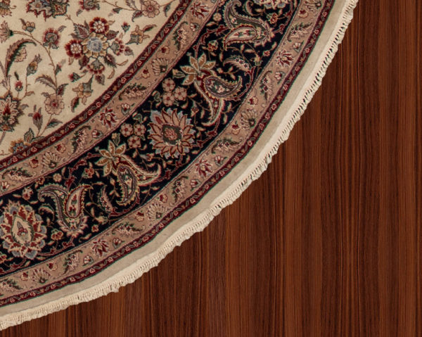 10 Foot Round Ivory Blue Wool Area Rug