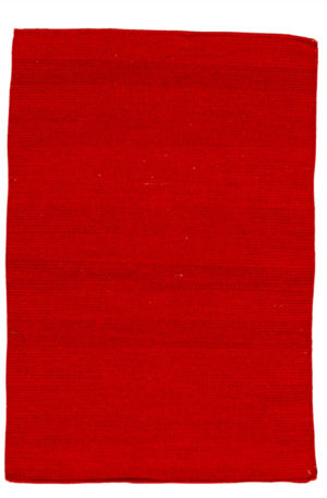 Flatweave Contemporary 2X3 Red Wool Area Rug