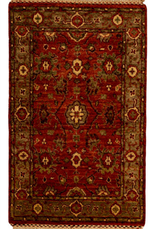 Traditional 2X3 Red Wool Area Rug