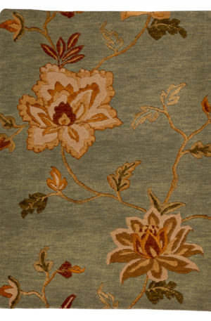 Floral 2X6 Blue Wool Area Rug