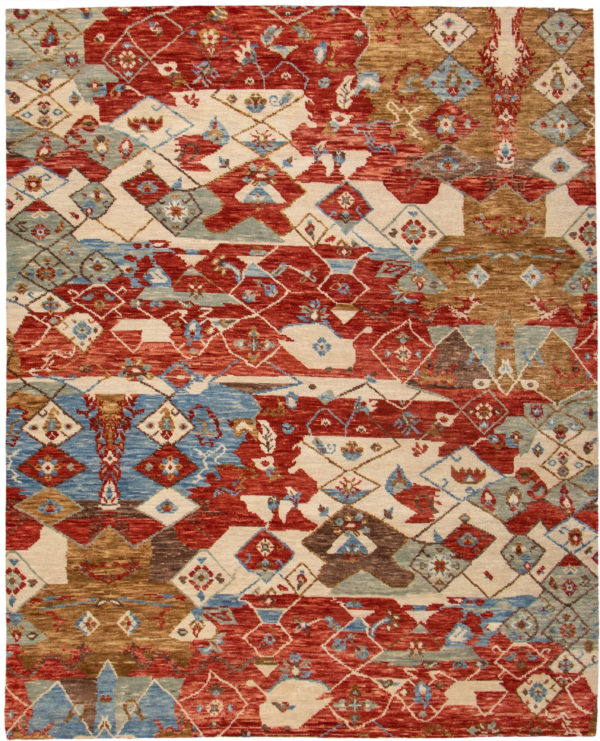 Splash Collection 8X10 Red Wool Area Rug