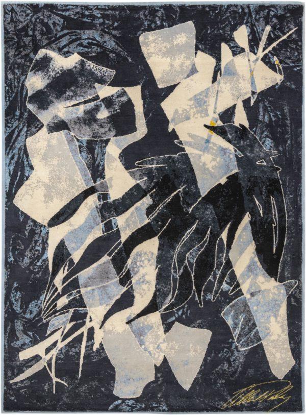 Art Rug Nepal 9X12 Black Blue Wool Area Rug