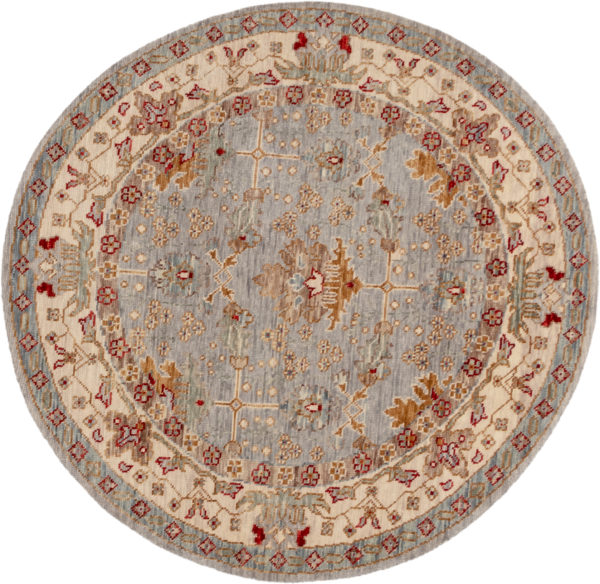 Transitional 6' Round Grey Wool Area Rug