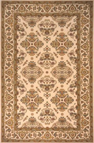 Traditional 2X3 Ivory Wool Area Rug