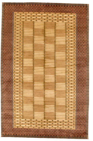Contemporary 5X8 Gold Wool Area Rug