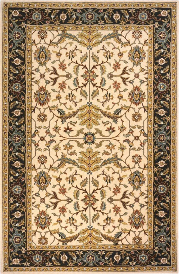 Traditional 2X3 Ivory Black Wool Area Rug