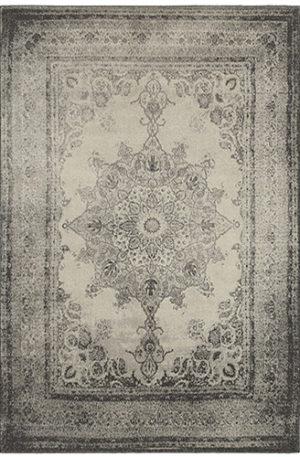London Coll. 5x8 Ivory/Grey Medallion Area Rug