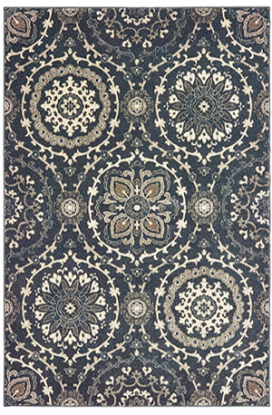 London Collection 2X8 Blue Transitional Area Rug