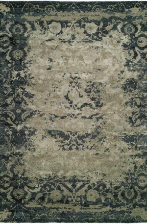 Vista Collection 4X6 Blue Wool & Silkette Area Rug