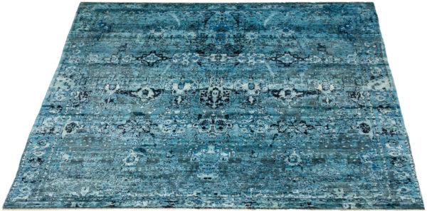 Afghani Acara 6x9 Blue Silk Rug