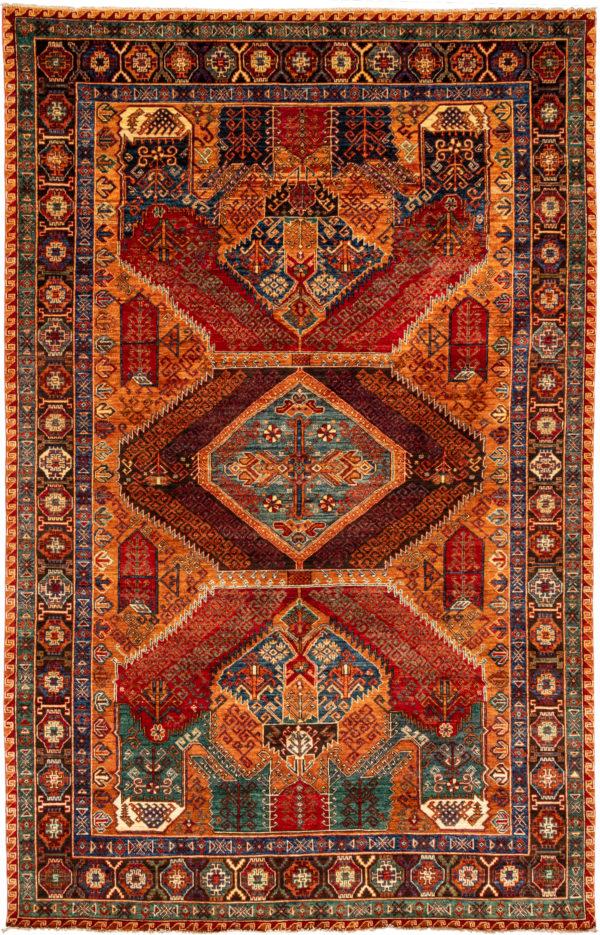 Afghani Caucasian 8x10 Gold Wool Area Rug