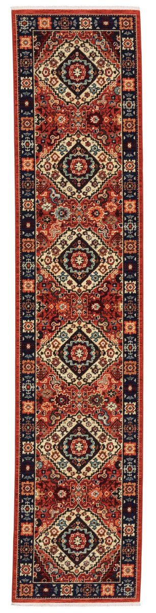 Kemereh Collection Runner Red Tribal Area Rug