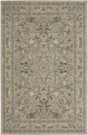 Transitional 5X8 Gray Ivory Synthetic Area Rug