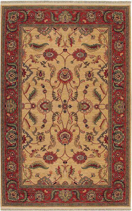 Traditional 6X9 Ivory Red Wool Area Rug
