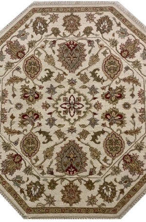 Zeigler Collection 6' Octagon Ivory Wool Area Rug
