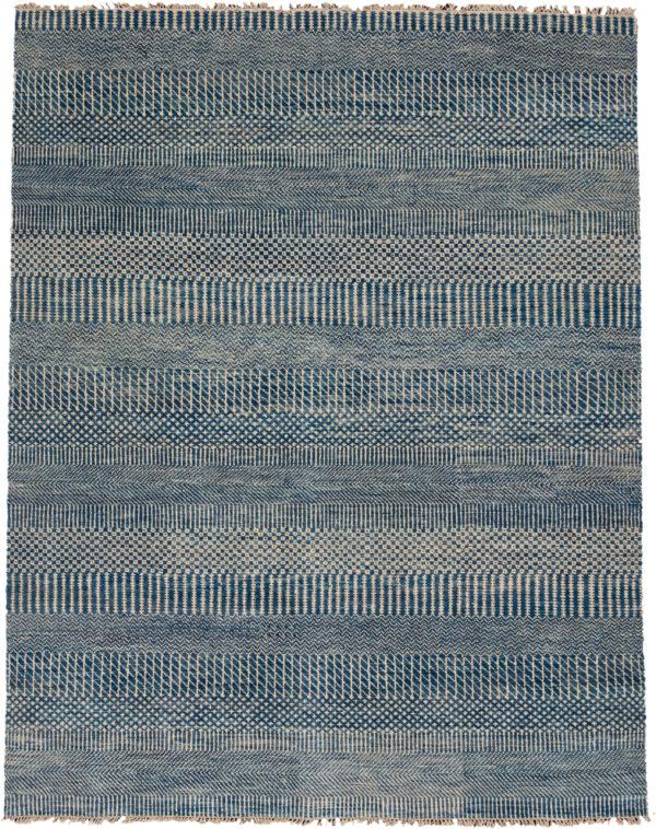 India 8x10 Blue Geometric Wool Area Rug