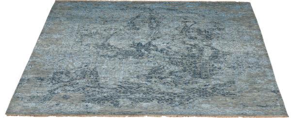 India 8x10 Grey Transitional Wool & Art Silk Rug