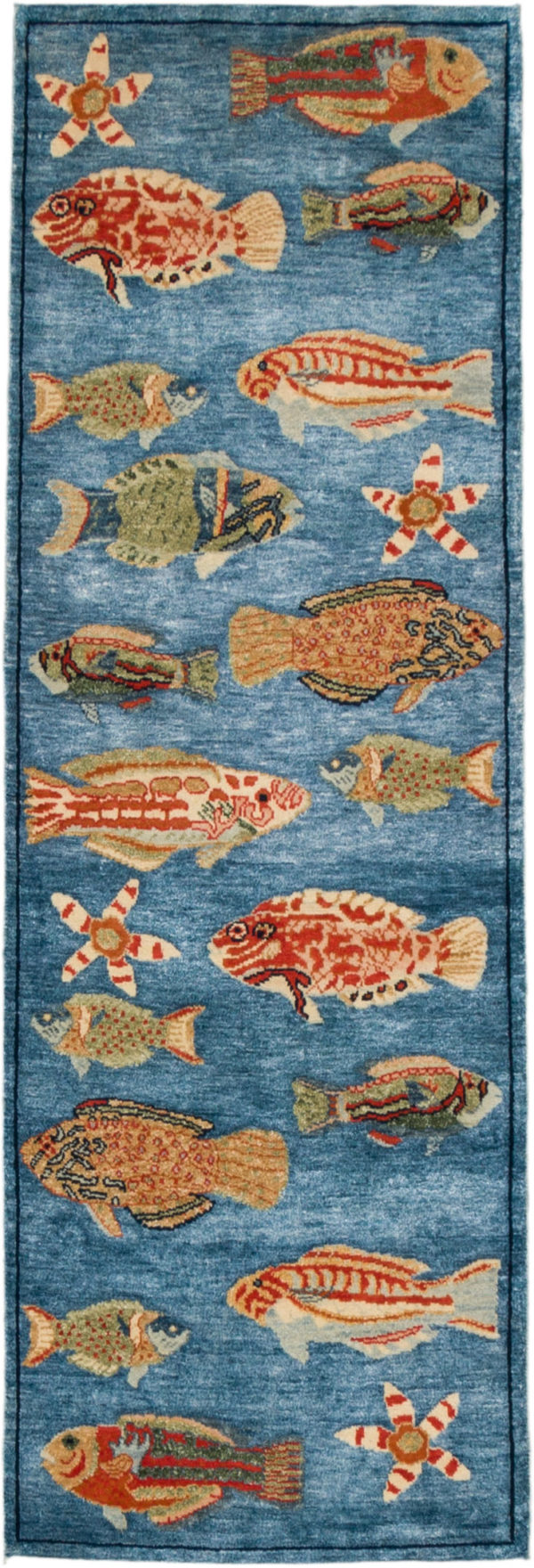 India Agra Pond Fish Runner Blue Wool Area Rug