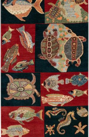 Agra India Coral Reef Sampler Red/Black Wool Rug