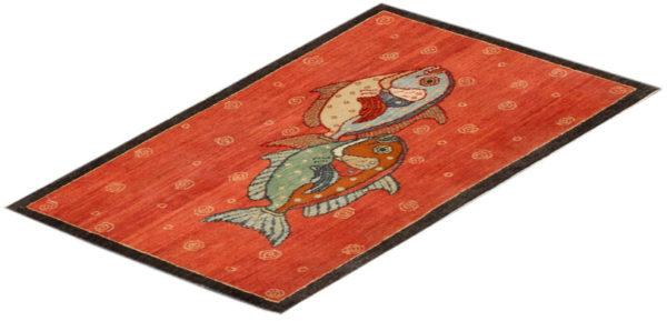 India Agra Moonfish 2x3 Red Wool Area Rug