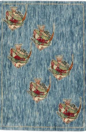 India Agra Angelfish 2x3 Blue Wool Area Rug