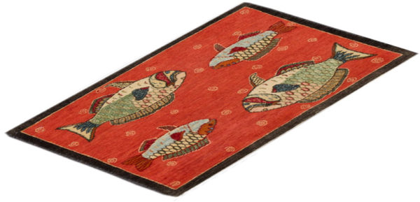 India Agra Parrot Fish 2x3 Red Wool Area Rug