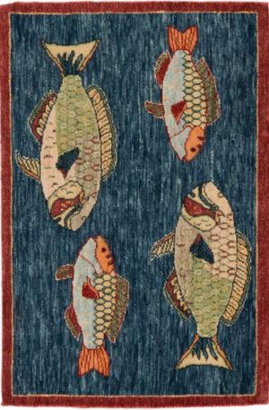 India Agra Parrotfish 2x3 Blue Wool Area Rug