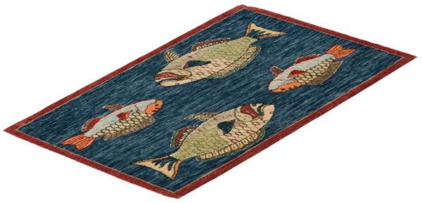 India Agra Parrotfish Blue Wool Area Rug