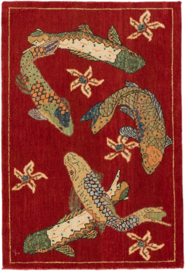 India Agra Koi Fish 2x3 Red Wool Area Rug