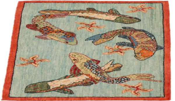 India Agra Koi Fish Blue Wool Area Rug