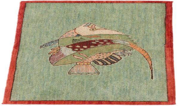 India Agra Angel Fish 2x3 Green Wool Area Rug