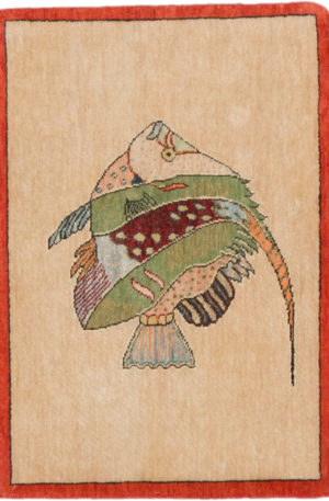 India Agra Angel Fish 2x3 Beige Wool Area Rug